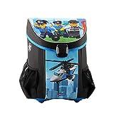 LEGO Bags Schulranzen Set Easy, 3 teilig, Ranzen nur 790 g, Schulset mit Lego City Motiv Police Chopper, Büchertasche ca. 40 cm, 22 Liter
