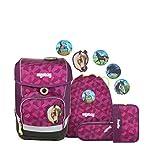 Ergobag cubo NachtschwärmBär, ergonomischer Schulrucksack, Set 5-teilig, 19 Liter, 1.100 g, lila