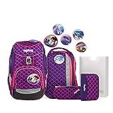 Ergobag Pack PerlentauchBär - Pink, ergonomischer Schulrucksack, Set 6-teilig, 20 Liter, 1.100 g, Pink
