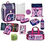 Mädchen Schulranzen-Set 11 tlg. Scooli FlexMax Up Schulrucksack Disney Minnie Maus mit Sporttasche und Regenschutz