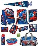 Familando Schulranzen-Set Marvel Spiderman 20 TLG. mit Federmappe, Dose, Flasche, Sporttasche, große Schultüte 85cm und Regenschutz