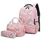 Mädchen Rucksack Einhorn Schultaschen Sets Schulrucksack Schultasche Schulranzen Mädchen Tasche 3 Set - Schultertaschen+Kühltasche+Federmäppchen Rosa (Pink)