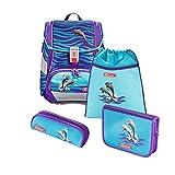 """Step by Step Schulranzen-Set 2IN1 """"Happy Dolphins"""" 4-teilig, lila-blau, Delfin-Design, ergonomischer Tornister mit Reflektoren, höhenverstellbar mit Hüftgurt für Mädchen 1. Klasse, 19L"""