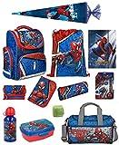 Familando Schulranzen-Set Marvel Spiderman 18 TLG. mit Federmappe, Dose, Flasche, Sporttasche, große Schultüte 85cm und Regenschutz