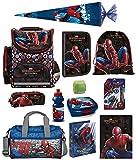 Familando Schulranzen-Set Marvel Spiderman 17 TLG. mit Federmappe, Dose, Flasche, Sporttasche, große Schultüte 85cm und Regenschutz