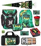 Familando Lego Schulranzen-Set Ninjago Explorer 10 TLG. mit Federmappe, Brotzeit-Dose, Trink-Flasche, Sporttasche, Ninja Schultüte 85cm grün und Regenschutz Spinjitzu Lloyd Golden Power