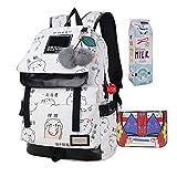 JUND Damen Mode Schultasche Kawaii Druck Rucksack Mädchen Lässig Wasserdicht Backpack Schule Teenager Daypack