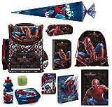 Familando Schulranzen-Set Marvel Spiderman 16 TLG. mit Federmappe, Dose, Flasche, große Schultüte 85cm und Regenschutz