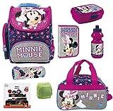 Familando Minnie Maus Schulranzen-Set 15-TLG. Dose /Flasche Federmappe Sporttasche und Regenschutz rosa blau grau Mouse