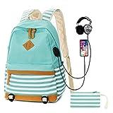 SANMIO Schulrucksack Mädchen Schultaschen Canvas Rucksack Schultasche Daypacks für Damen Herren Streifen Backpack mit 15.6 Zoll, USB Charging Port, 3.5mm Headphone Port