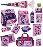 Familando Scooli Schulranzen-Set Disney Minnie Maus 18-TLG. mit Brotzeit-Dose, Trink-Flasche, Sporttasche, Schultüte 85cm und Regenschutz