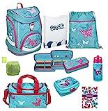 Familando Butterfly Mädchen Schulrucksack-Set 9 TLG. Twixter Up Sporttasche Dose Flasche Mädchen-Schulranzen Scooli türkis ab der 1. Klasse