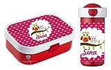 wolga-kreativ Set Eulen Brotdose mit Obsteinsatz und Trinkflasche Kinder mit Namen personalisiert