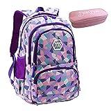 Bom Bom Rucksack Schultasche junge Mädchen Teen Kinder große Schule Rucksack (violett)