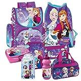 Frozen die Eiskönigin Anna ELSA Olaf 8 Teile Set Schulranzen Schulrucksack Rucksack RANZEN TORNISTER Tasche mit Sticker von Kids4shop Federmappe